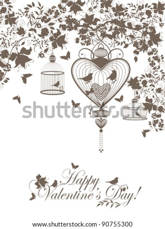 Stylish valentine background with decorative cages and birds. - stock vector