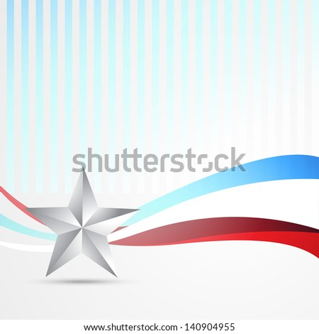 stylish vector american independence day wave background - stock vector