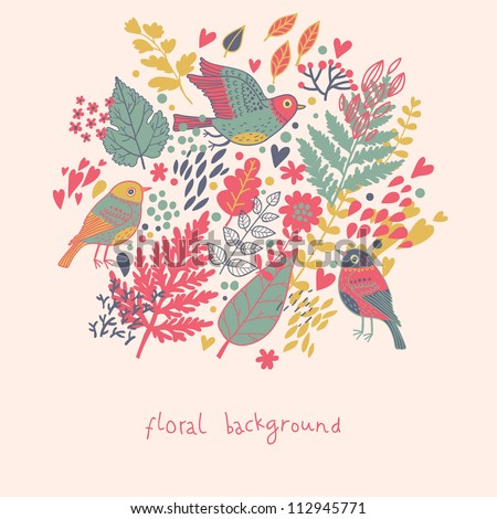 Stylish vector background. Card with leafs and birds in modern colors - stock vector