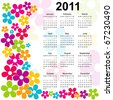 stylish vector calendar with colorful flowers - stock vector