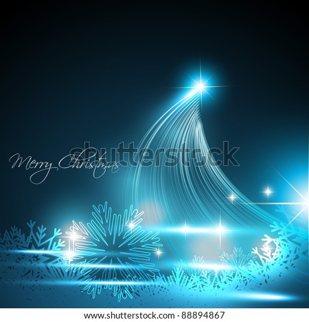 stylish vector christmas tree with space for your text - stock vector