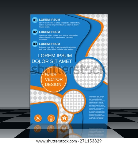 Stylish vector flyer template. Brochure cover, magazine, booklet, poster abstract design. - stock vector