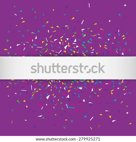 Stylish vector illustration of a purple party background with colorful confetti and white silky ribbon for your text. Can be used as a greeting card template - stock vector