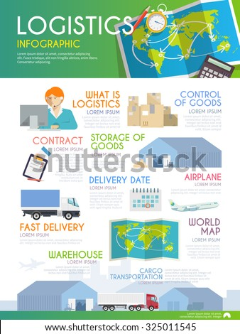 Stylish vector infographics on the theme of logistics, freight, trucking, warehouses, storage of goods, insurance. Modern flat design. - stock vector