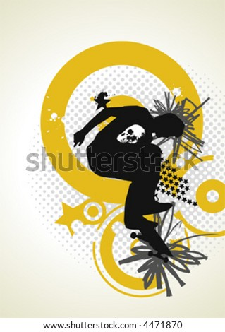 stylish vector skater with graffiti tags - stock vector