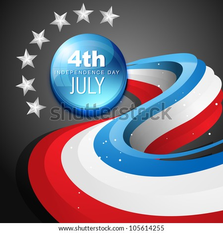 stylish vector 4th of july american independence day - stock vector