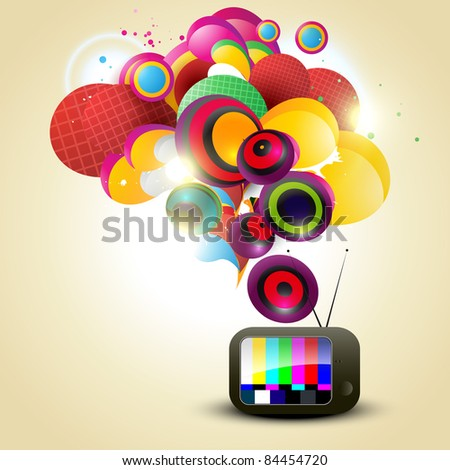stylish vector tv colorful background - stock vector