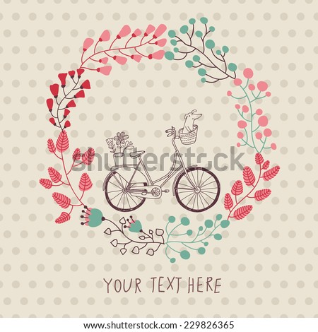 Stylish vintage background with bicycle and place for your text. Dachshund and plants in bike basket. Celebration card. Birthday concept. Spring garden wreath. - stock vector