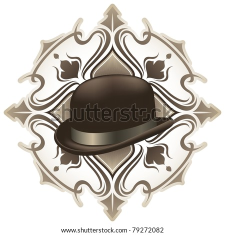 Stylish vintage background with hat. Vector illustration. - stock vector