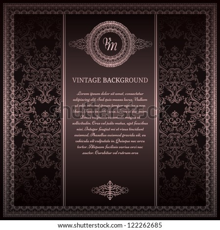 Stylish vintage background with silver ornament - stock vector