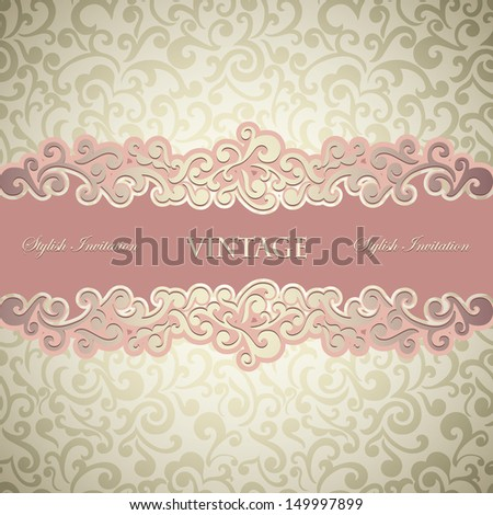 Stylish vintage Card, abstract floral background, Vintage frame - stock vector