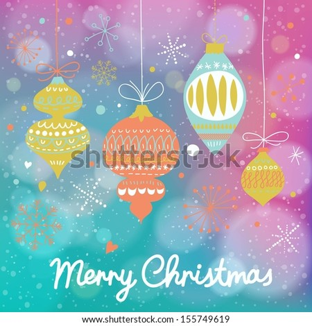 Stylish vintage Christmas and New Year background in vector. Retro holiday toys on bright wallpaper with bokeh effect