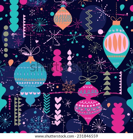 Stylish vintage Christmas and New Year seamless pattern in vector. Seamless pattern can be used for wallpapers, pattern fills, web page backgrounds, surface textures. - stock vector