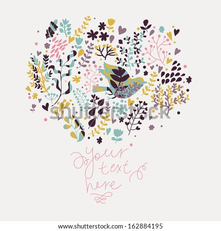 Stylish vintage flying bird on flowers in vector. Cute floral card. Summer background in modern colors. - stock vector