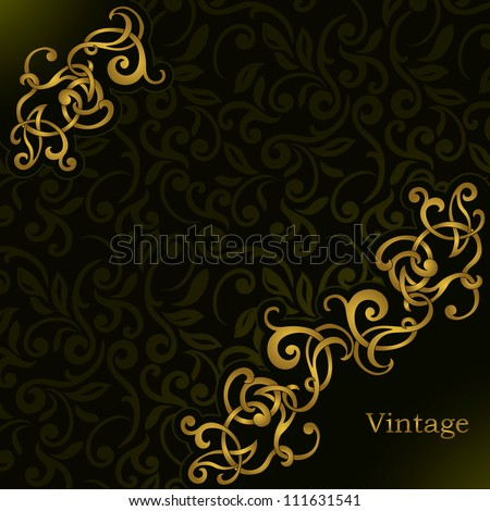 Stylish Vintage frame on seamless floral dark wallpaper. Can be used as business or invitation card - stock vector