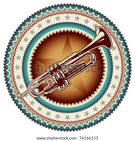 Stylish vintage label with trumpet. Vector illustration. - stock vector