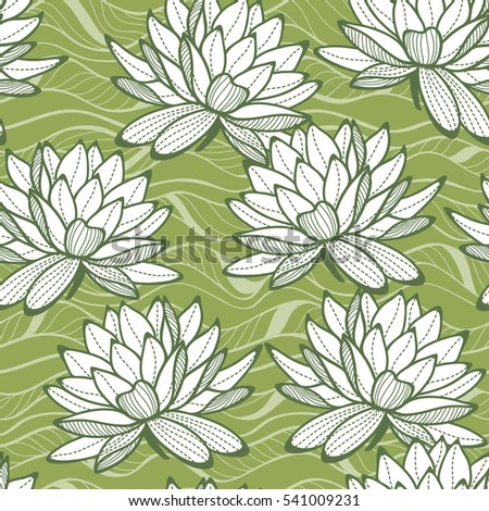 Stylish water lily seamless ornament. Floral pattern on wave background. Textile swatch in trendy Greenery colors.