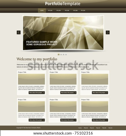 stylish website template - portfolio layout for designers and design studio - stock vector