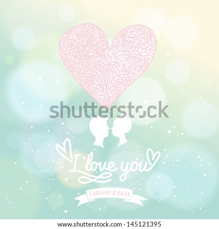 Stylish wedding invitation in vector. Delightful Save the date card in gentle colors. Adorable romantic card with lovers, heart and bokeh - stock vector