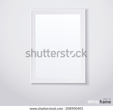 Stylish white photoframe. Vector illustration - stock vector