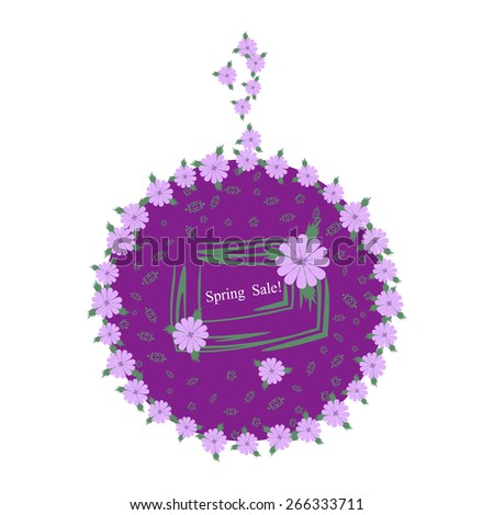 Stylish with lilac flowers label. Spring sale. - stock vector