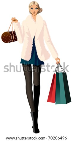 stylish woman - stock vector