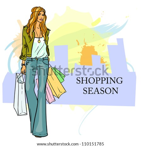 Stylish woman, girl with shopping bags, hand drawn illustration with space for text, shopping season - stock vector