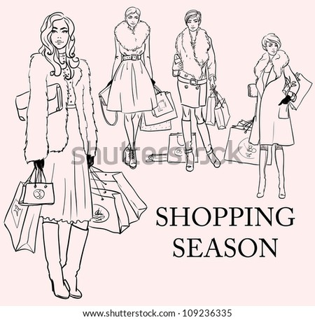 Stylish women, girls with shopping bags, hand drawn sketch, shopping season set - stock vector