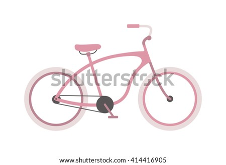 Stylish womens pink bicycle isolated on white background wheel pedal transportation vector. Cute pink bicycle isolated and girl pink bike. Romantic sport pink bike retro transport cute design. - stock vector