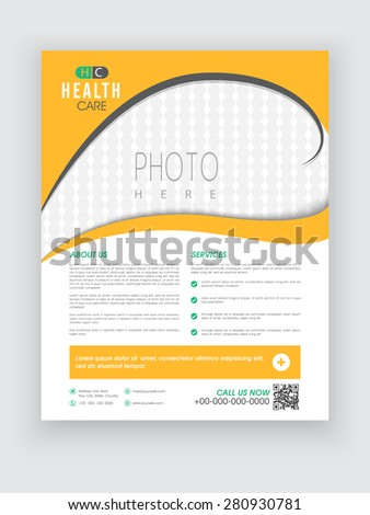 Stylish yellow and white Health Care flyer with blank space for your image. - stock vector