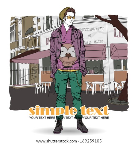 Stylish young guy on a street-cafe background. Vector illustration. - stock vector