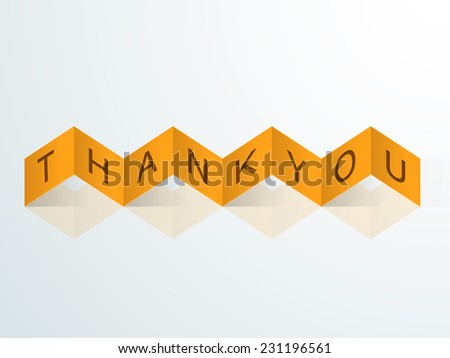 Stylish zigzag yellow paper ribbon with text Thank You for Happy Thanksgiving Day celebrations.  - stock vector