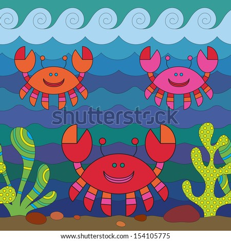 Stylize fantasy crabes under water. - stock vector