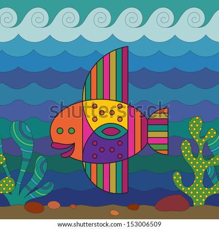 Stylize fantasy fish under water. - stock vector