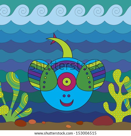 Stylize fantasy numbfish under water. - stock vector