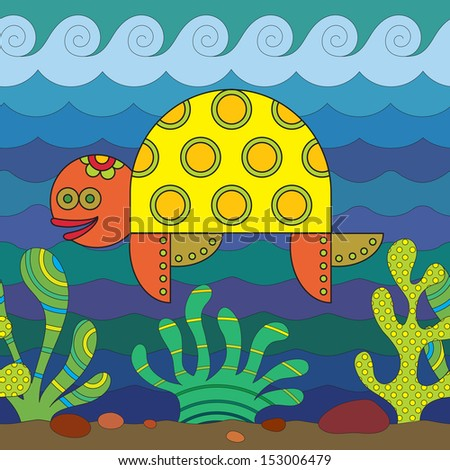 Stylize fantasy turtle under water. - stock vector