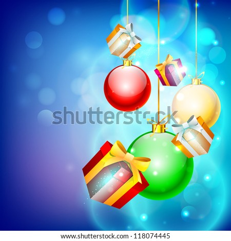 Stylize hanging Xmas balls and gift boxes for Merry Christmas celebration. EPS 10.