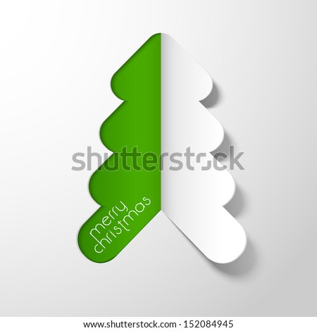 Stylize Xmas tree made from paper cutout for Merry Christmas celebration.  - stock vector
