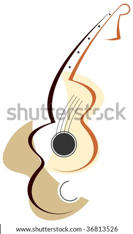 Stylized abstract guitar - vector color illustration on white background. Can be used as logotype of your company. - stock vector