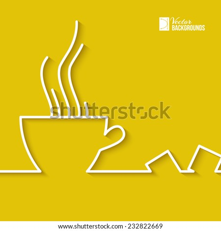 Stylized abstract line of a cup of coffee. Vector illustration. - stock vector
