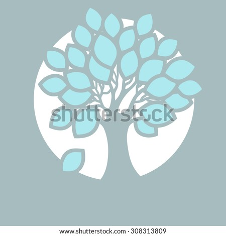 Stylized abstract tree in round. Icon for ecology, autumn season and garden theme.