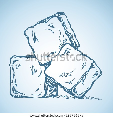 Stylized algid gelid glacial bricks icon isolated on white backdrop. Freehand ink drawn symbol sketchy in art scribble retro style pen on paper. View closeup with space for text on light azure surface - stock vector