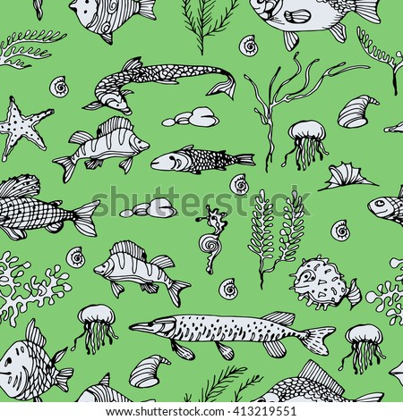 Stylized and ornamental fish. River and sea fish. Black and white drawing by hand. Line art. Seamless pattern