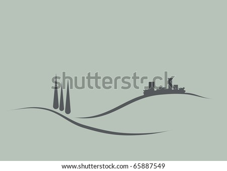 Stylized and reduced illustration of typical tuscany landscape - stock vector