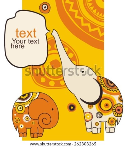 Stylized  animation elephants with copy space on ornament backdrop, vector illustration. - stock vector