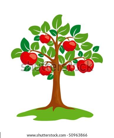 Stylized apple-tree. EPS8 vector. - stock vector