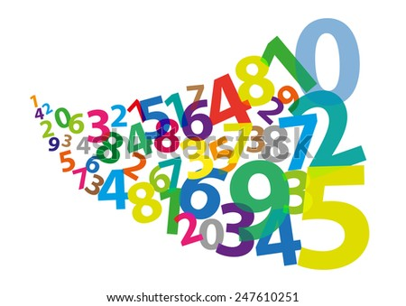 Stylized Arabic Numerals as if Blown Away - stock vector