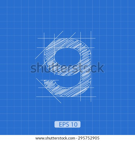 """stylized architectural plan of the figure """"nine"""" on a blue background - stock vector"""