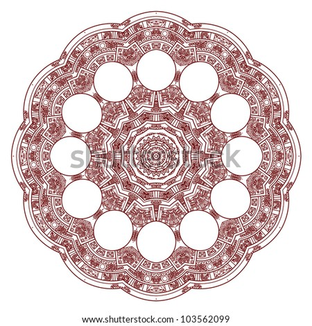 Stylized Aztec Calendar in red color, vector illustration - stock vector