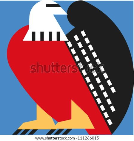 Stylized bald eagle - stock vector